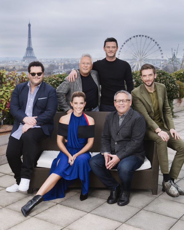 Special Shoot on the terrace of Belle Étoile, in Paris Alan Menken (composer), Bill Codon (director) and the film's stars Emma Watson, Dan Stevens, Josh Gad, Luke Evans & Alexis Loizon .