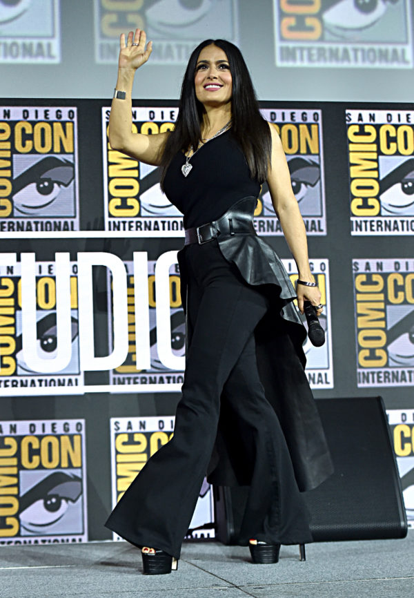 SAN DIEGO, CALIFORNIA - JULY 20: Salma Hayek of Marvel Studios' 'The Eternals' at the San Diego Comic-Con International 2019 Marvel Studios Panel in Hall H on July 20, 2019 in San Diego, California.