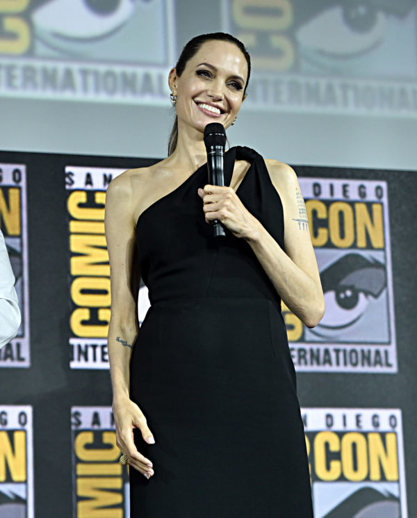 SAN DIEGO, CALIFORNIA - JULY 20: Angelina Jolie of Marvel Studios' 'The Eternals' at the San Diego Comic-Con International 2019 Marvel Studios Panel in Hall H on July 20, 2019 in San Diego, California.