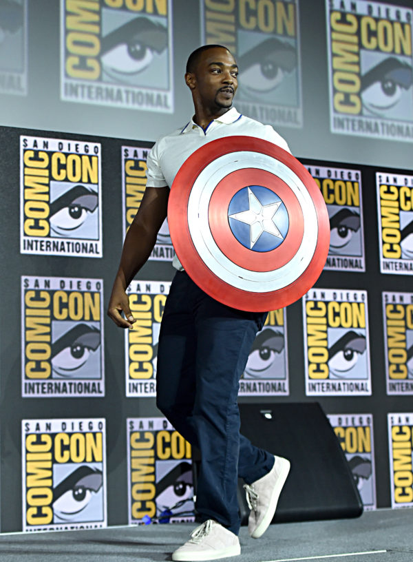 SAN DIEGO, CALIFORNIA - JULY 20: Anthony Mackie of Marvel Studios' 'The Falcon and The Winter Soldier' at the San Diego Comic-Con International 2019 Marvel Studios Panel in Hall H on July 20, 2019 in San Diego, California.