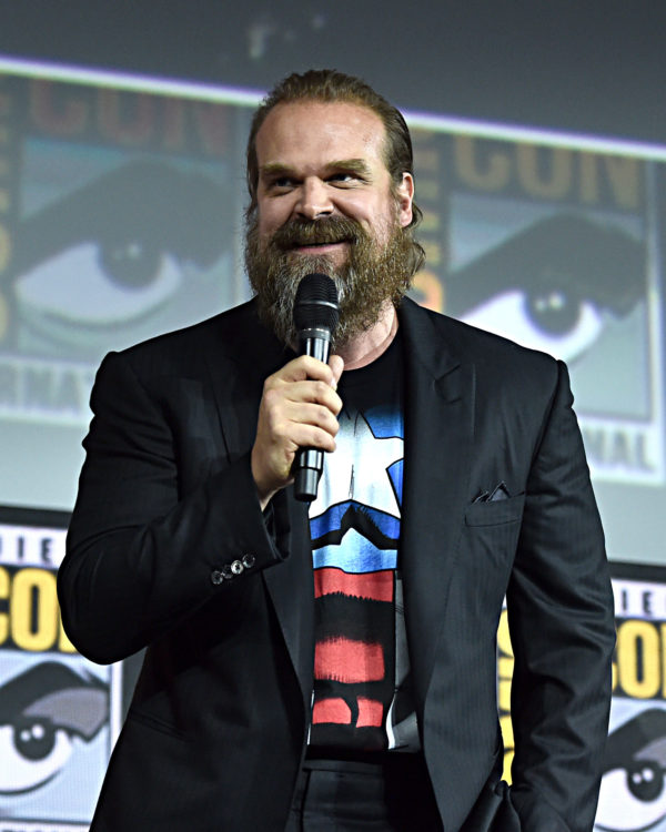 SAN DIEGO, CALIFORNIA - JULY 20: David Harbour of Marvel Studios' 'Black Widow' at the San Diego Comic-Con International 2019 Marvel Studios Panel in Hall H on July 20, 2019 in San Diego, California.
