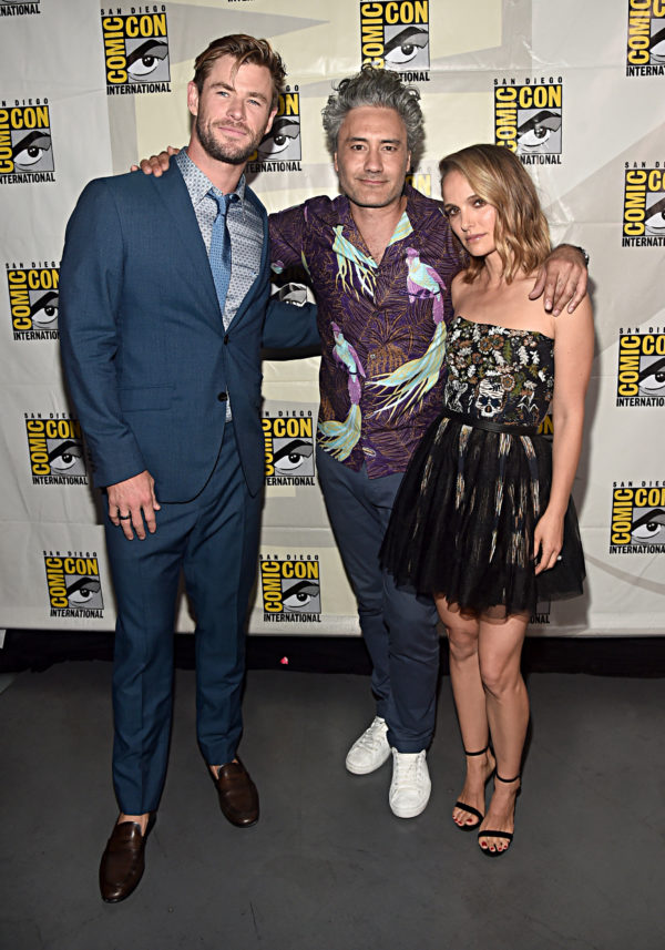 SAN DIEGO, CALIFORNIA - JULY 20: (l-R) Chris Hemsworth, Director Taika Waititi and Natalie Portman of Marvel Studios' 'Thor: Love and Thunder' at the San Diego Comic-Con International 2019 Marvel Studios Panel in Hall H on July 20, 2019 in San Diego, California